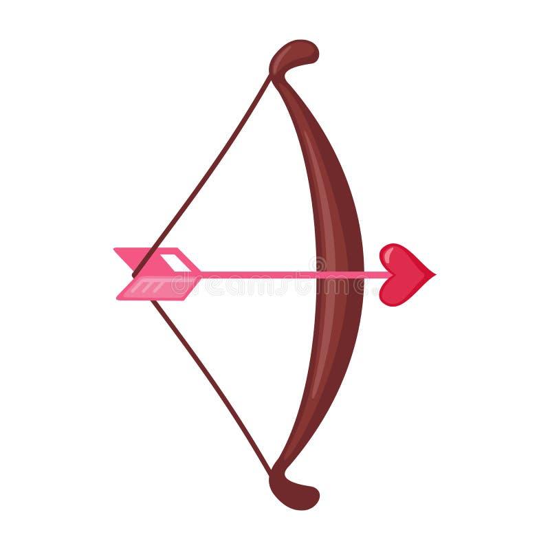 Curva do cupido e uma seta com um ícone do coração ilustração do vetor