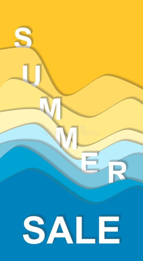 A curva do mar e da praia acena o fundo, palavra da venda ilustração do vetor