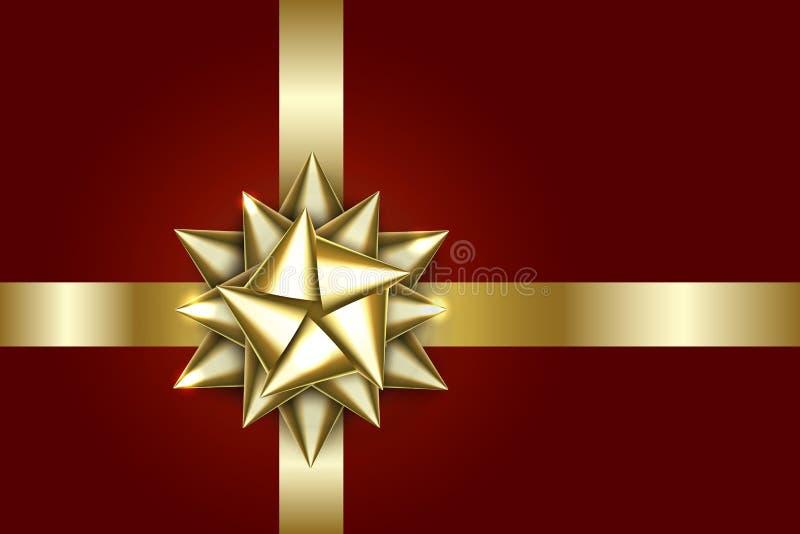 Curva do ouro isolada no fundo vermelho Fita dourada brilhante Decoração do cetim do Natal Projeto do feriado do ano novo Eps 10 ilustração do vetor