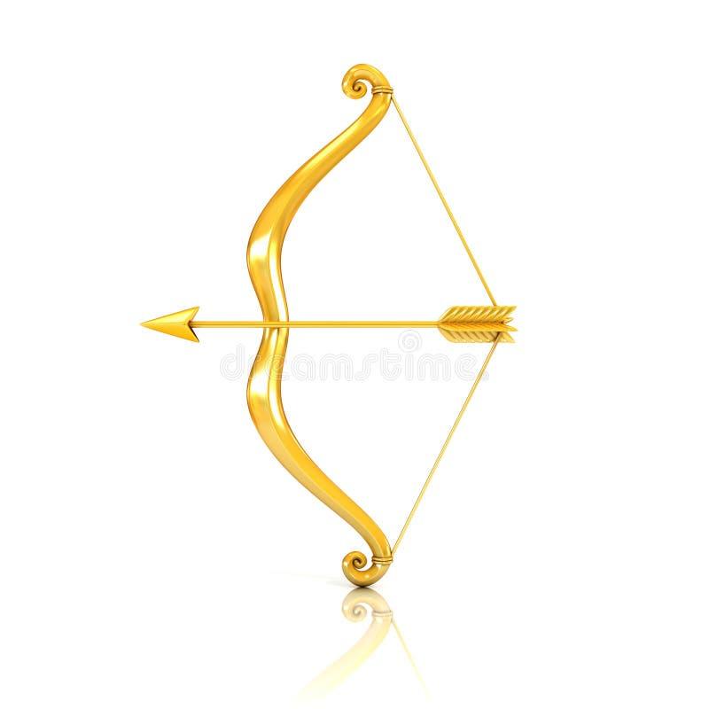 Curva e seta douradas ilustração royalty free