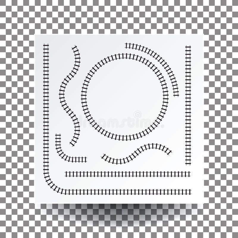 Curva ferroviaria, recta, círculo, arco, sistema de la colección, illustrati stock de ilustración