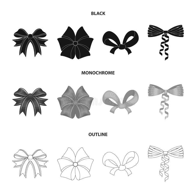 Curva, fita, decoração, e o outro ícone da Web em preto, monocromático, estilo do esboço Presente, curvas, nó, ícones na coleção  ilustração do vetor