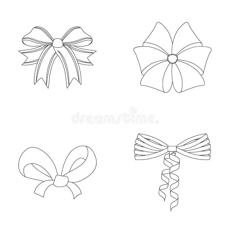 Curva, fita, decoração, e o outro ícone da Web no estilo do esboço Presente, curvas, nó, ícones na coleção do grupo ilustração stock
