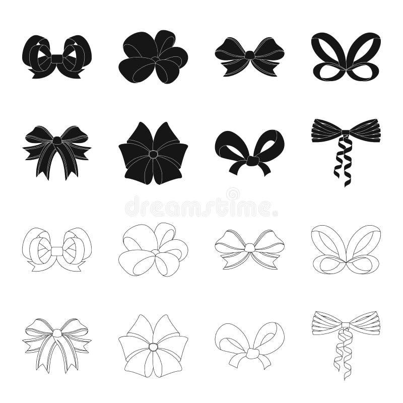 Curva, fita, decoração, e o outro ícone da Web no preto, estilo do esboço Presente, curvas, nó, ícones na coleção do grupo ilustração do vetor