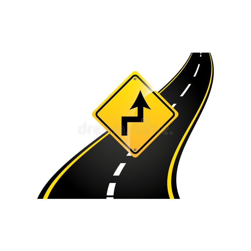 Curva il grafico dell'asfalto di concetto del segnale stradale illustrazione di stock