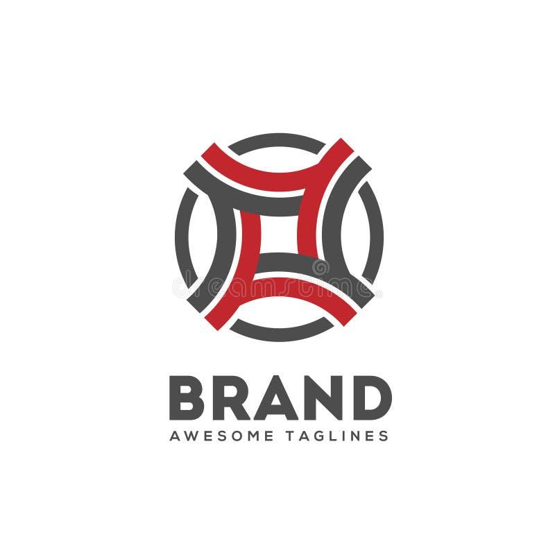 A curva moderna abstrata conecta o vetor do logotipo ilustração stock