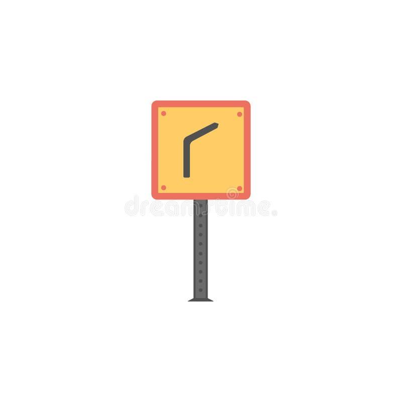 Curva perigosa ícone colorido Elemento do ícone dos sinais e das junções de estrada para apps móveis do conceito e da Web Curva p ilustração do vetor