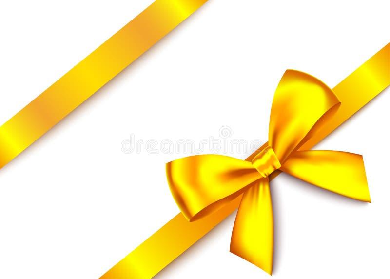 Curva realística do presente do ouro com fita horizontal ilustração do vetor