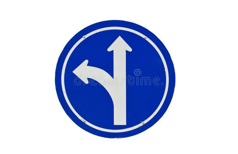 Curva recta o de la izquierda a continuación, dirección de la ruta del carril de tráfico. fotografía de archivo