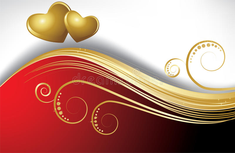 Curva rossa con i cuori royalty illustrazione gratis