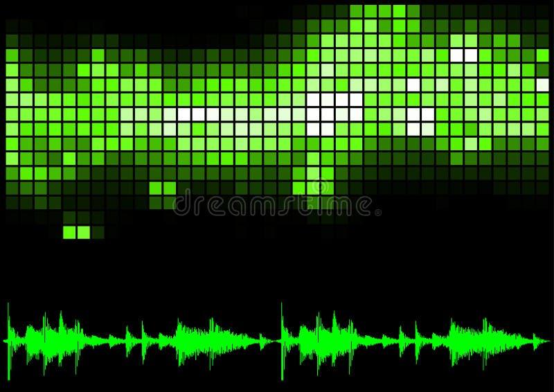 Curva verde do equalizador e do som ilustração royalty free