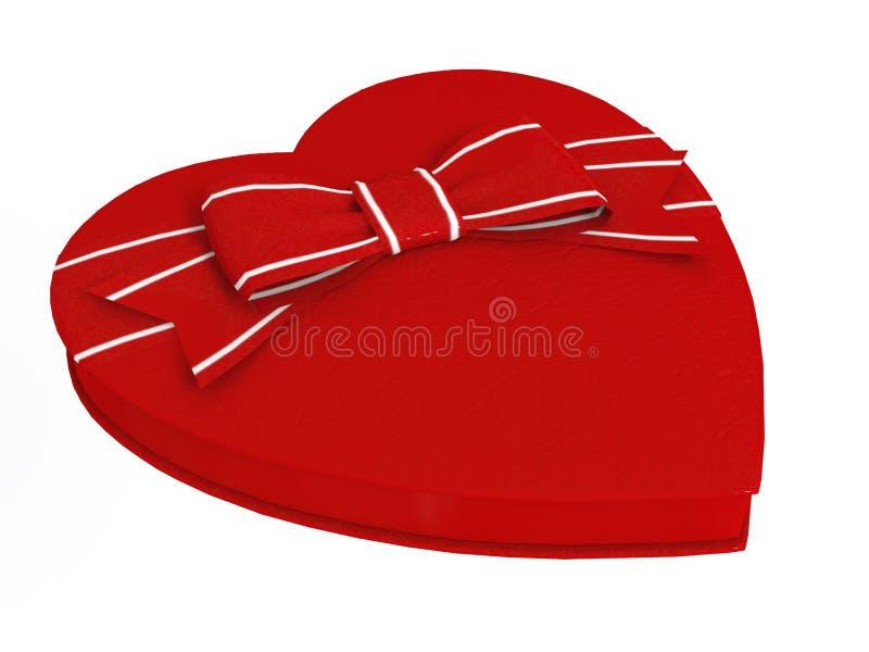 Curva vermelha da caixa de presente dos doces do coração fotografia de stock