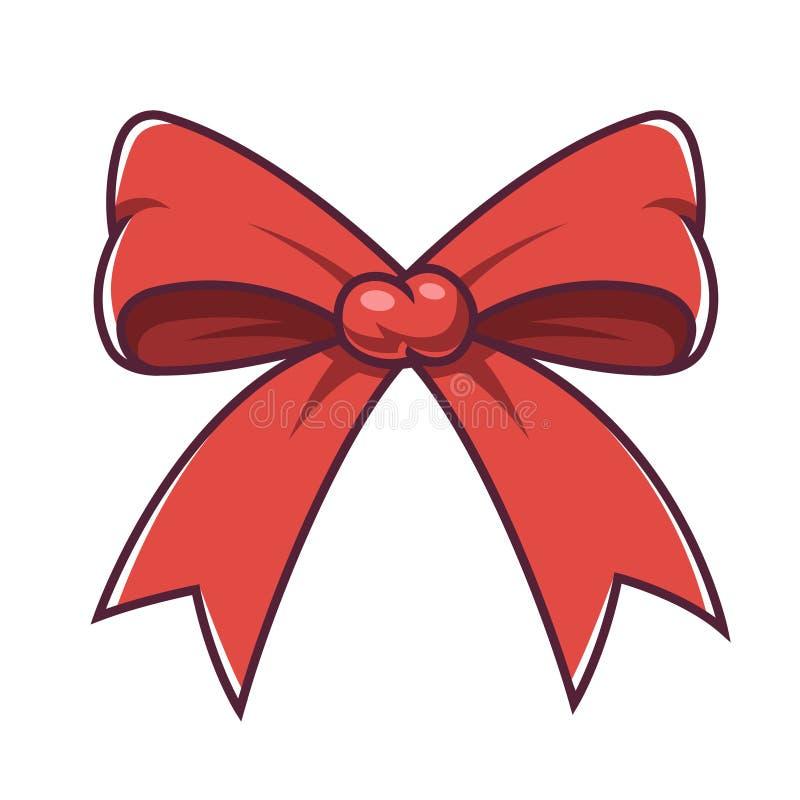 Curva vermelha do Natal em um fundo branco ilustração do vetor