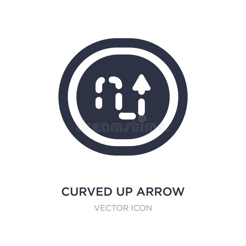 curvado acima da seta com linha quebrada ícone no fundo branco Ilustração simples do elemento do conceito de UI ilustração do vetor