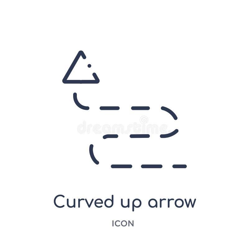 curvado encima de flecha con el icono quebrado de la colección del esquema de la interfaz de usuario Línea fina curvada encima de libre illustration
