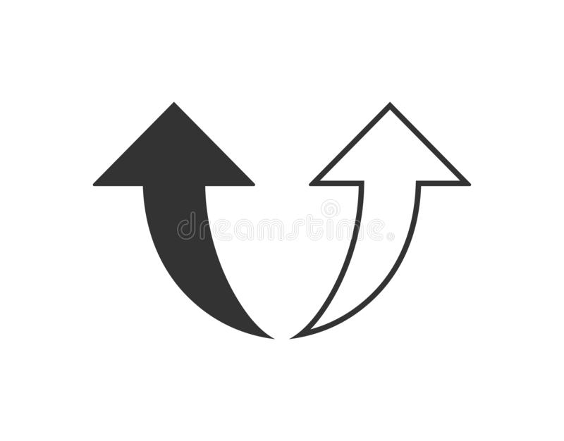 Curvado encima de icono de la flecha Ejemplo del vector, dise?o plano ilustración del vector