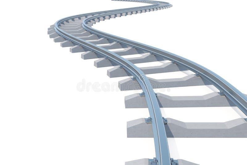 Curvado, pista de ferrocarril de la curva aislada en el fondo blanco ilustración 3D ilustración del vector