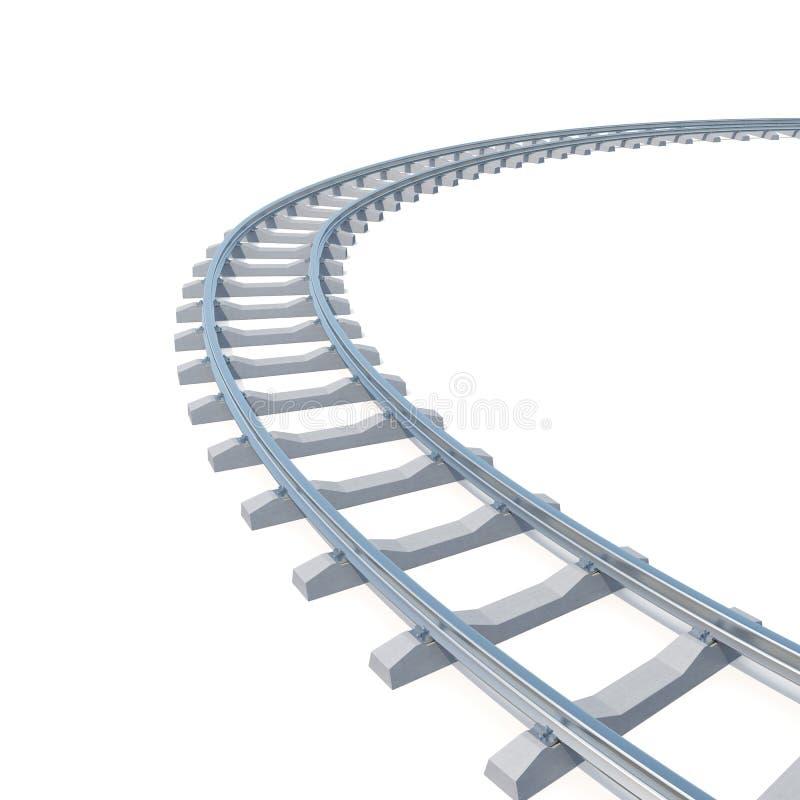 Curvado, pista de ferrocarril de la curva aislada en el fondo blanco ilustración 3D stock de ilustración