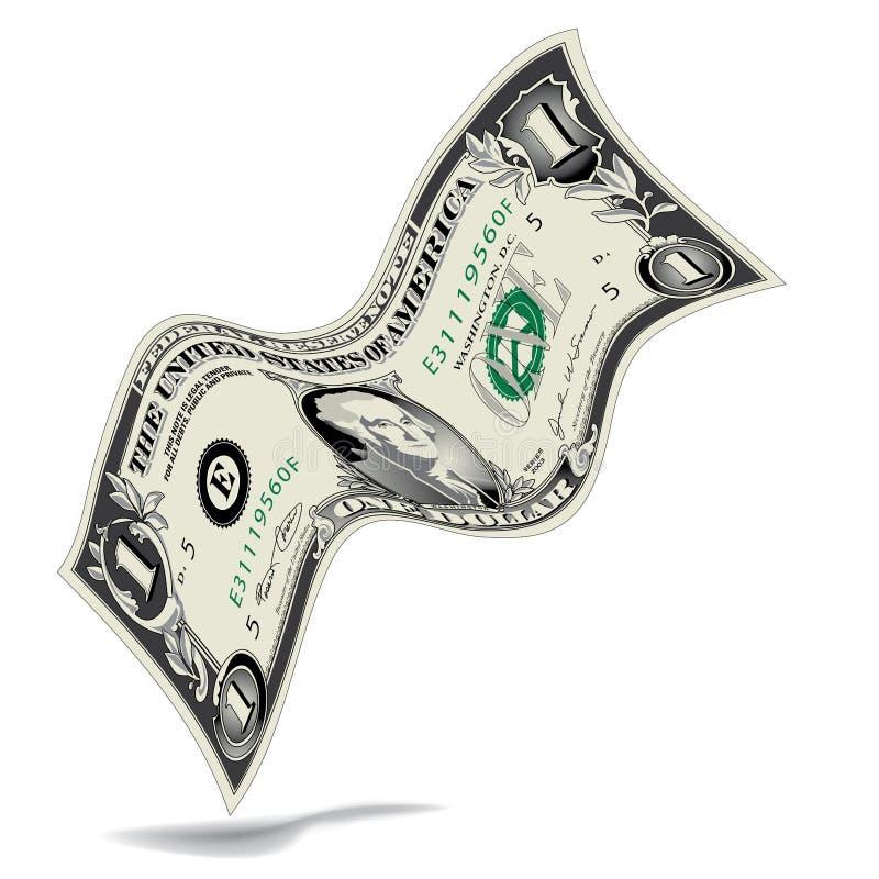Curvado un billete de dólar ilustración del vector