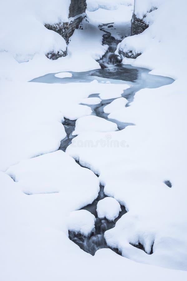 Curvando o córrego do inverno fotografia de stock