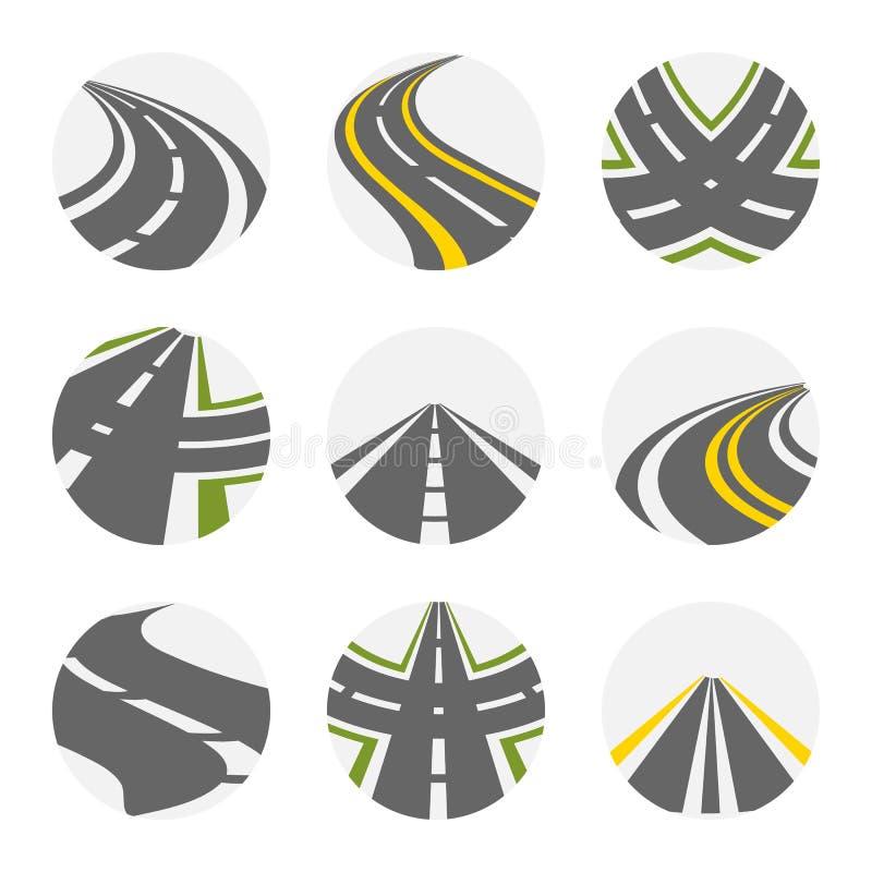 Curvando o grupo do vetor da estrada As estradas Logo Set In Grey Colour com imagens suburbanas Curvy isoladas das estradas com f ilustração stock