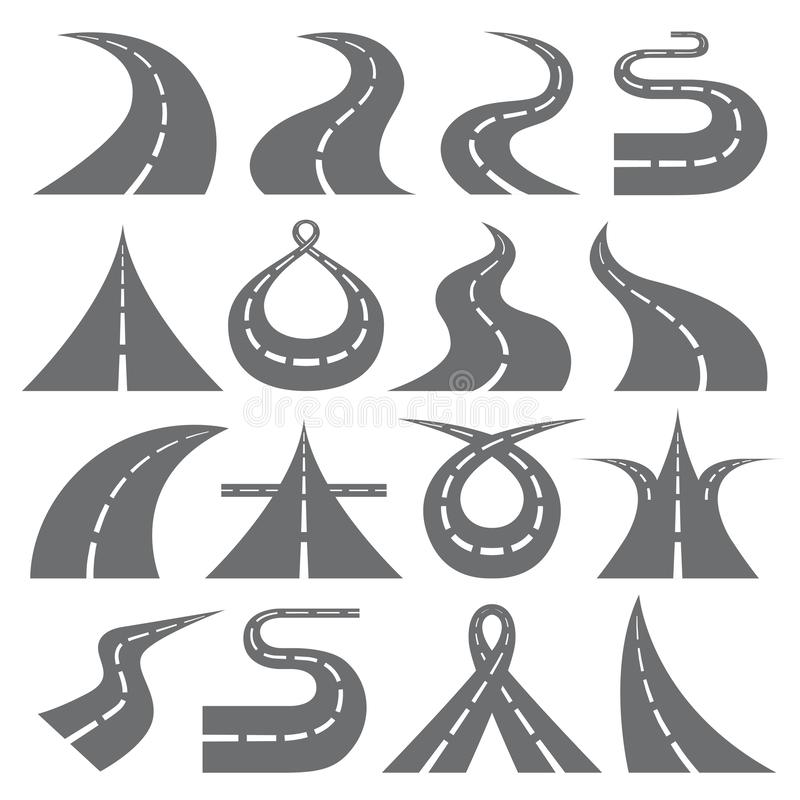 Curvar el sistema plano del vector de los iconos de los símbolos del camino stock de ilustración