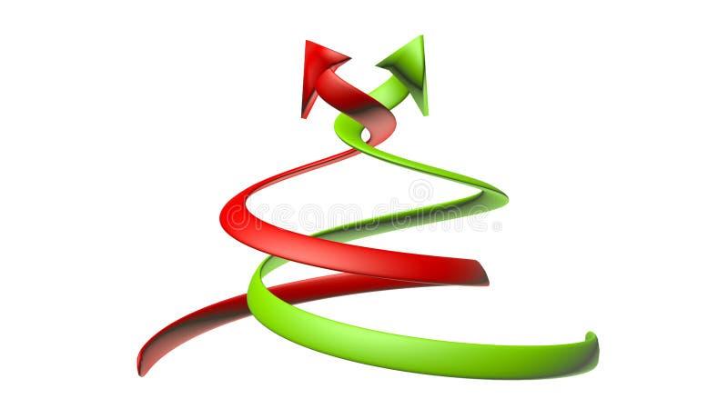 curvar flechas verdes y rojas con un aspecto 3D stock de ilustración