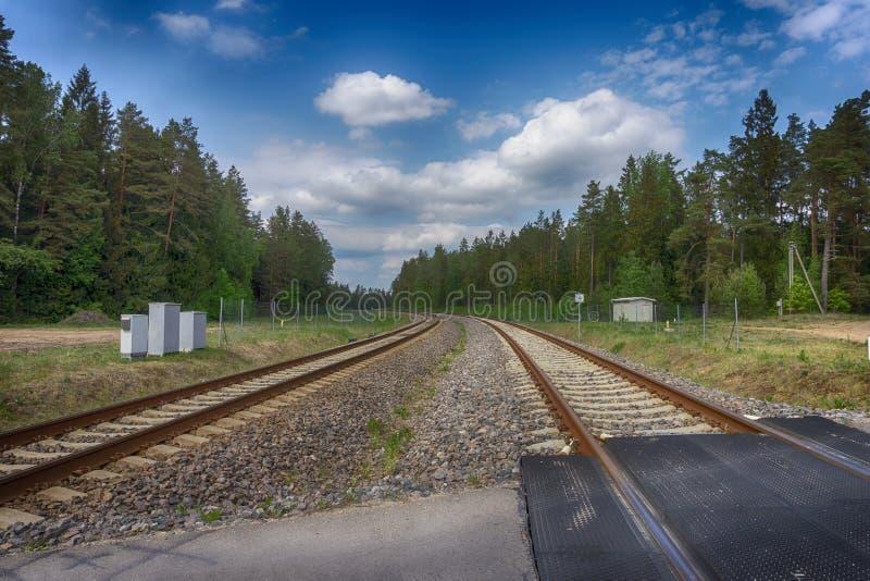 Curvar la pista de ferrocarril a través del bosque imagenes de archivo