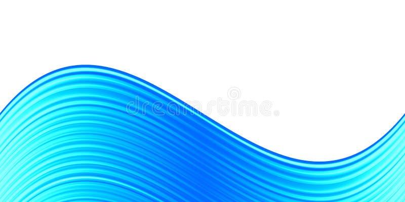 Curvas azules abstractas en el fondo blanco stock de ilustración