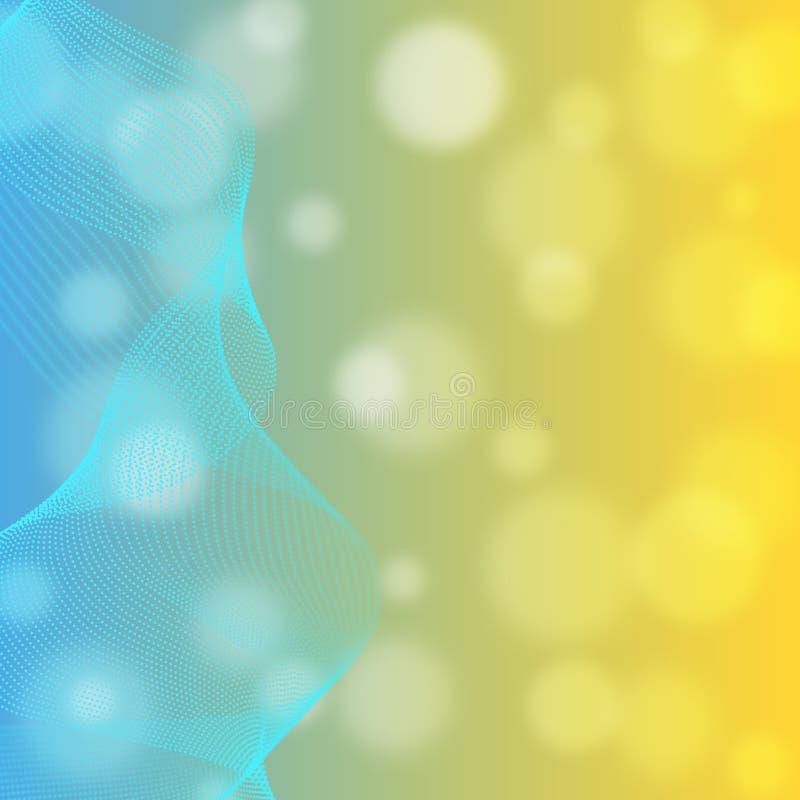 Curvas ciánicas brillantes del extracto en fondo azul y amarillo borroso de la pendiente ilustración del vector