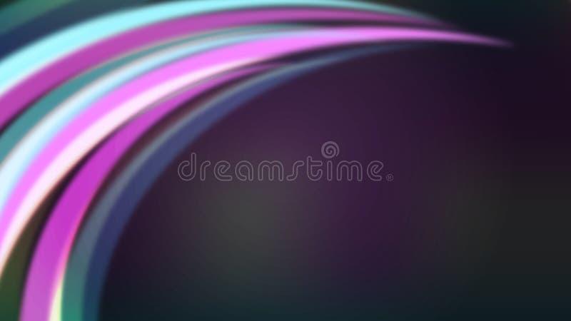 Curvas coloridas abstratas ou raios claros no fundo roxo escuro ilustração stock