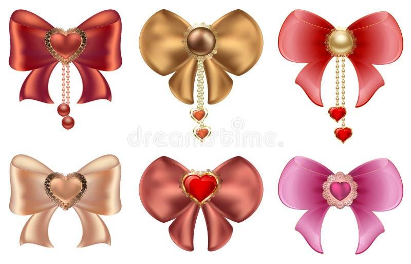 Curvas coloridos com corações e joia da pérola Os corações do vermelho e do ouro com vintage ornaments e curvam-se ilustração do vetor