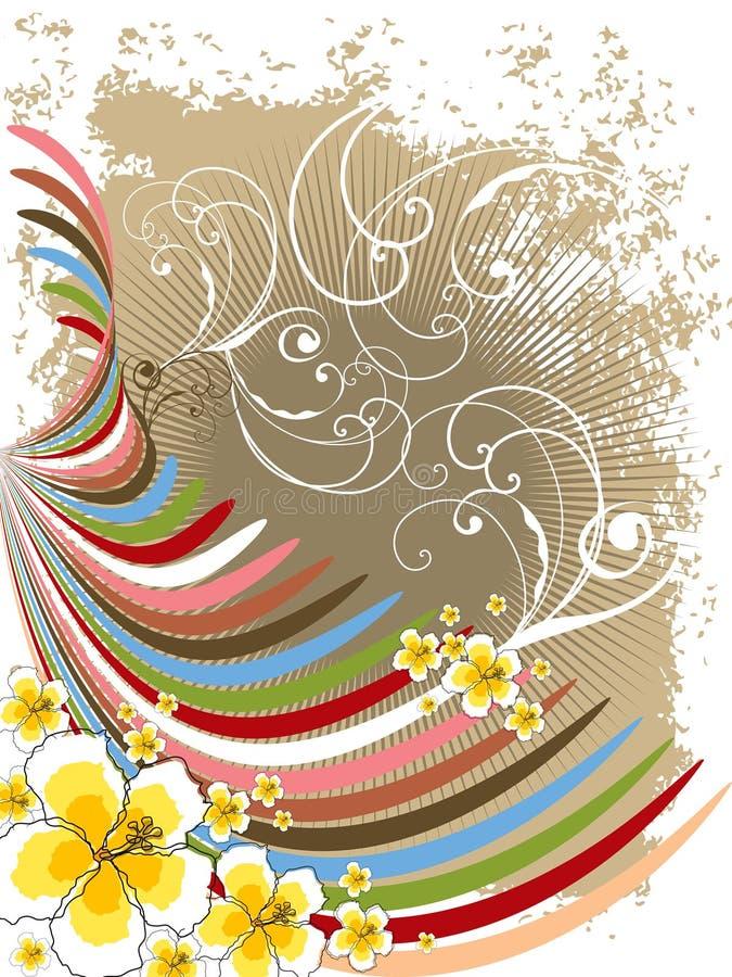 Curvas do arco-íris do hibiscus do verão ilustração do vetor