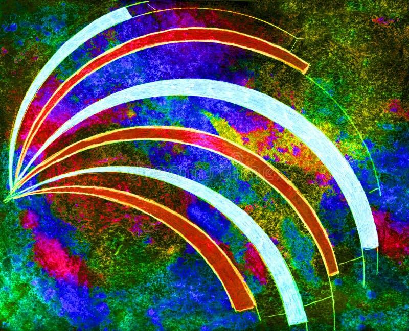 Curvas exhaustas de la mano en el papel de color de agua áspera ilustración del vector