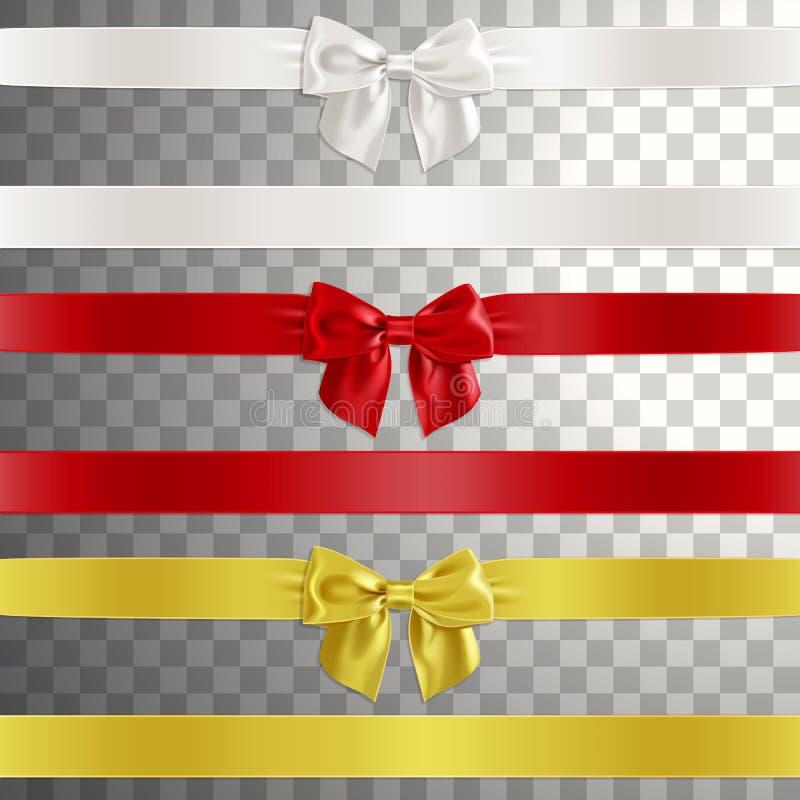 Curvas feitas da fita do cetim em branco, no vermelho e na cor do ouro ilustração do vetor