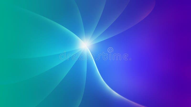 Curvas que brillan intensamente abstractas en fondo azul y verde ilustración del vector
