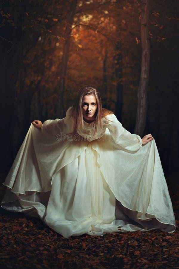 Curvatura bonito da mulher na floresta da fantasia fotografia de stock
