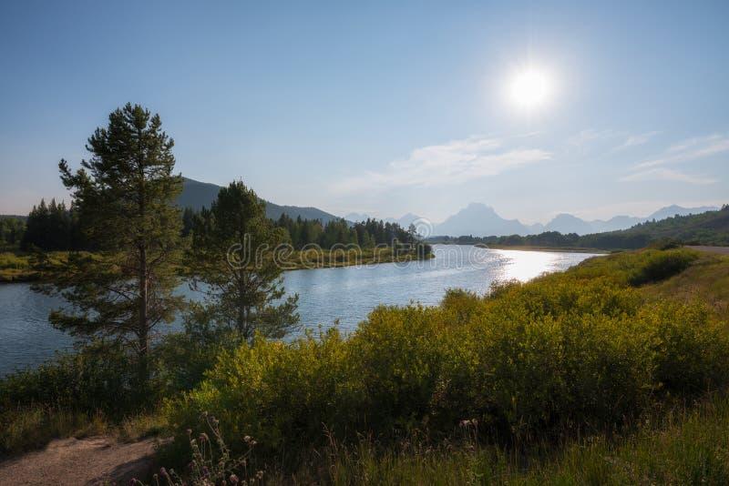 Curvatura de Oxbow no parque nacional grande de Teton imagens de stock