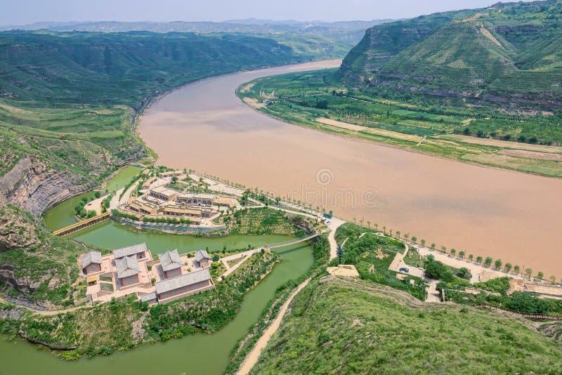 Curvatura de Qiankun do Rio Amarelo foto de stock