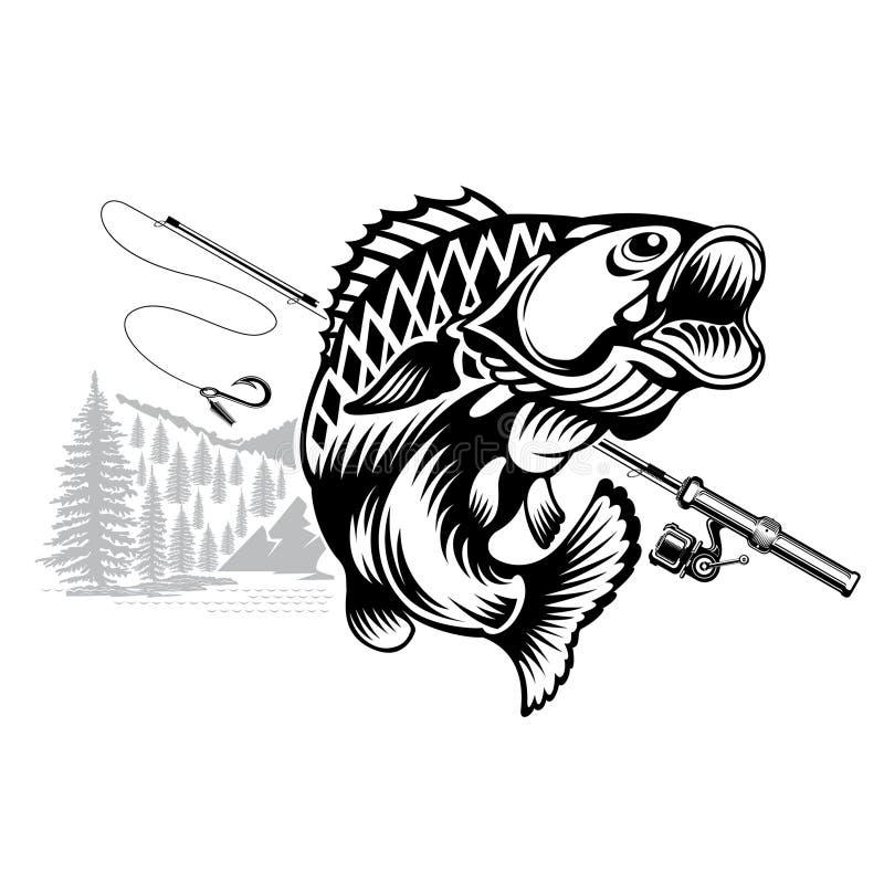 Curvatura del pesce del pesce persico nello stile engrving con la filatura Logo per il club di pesca, di campionato e di sport su illustrazione vettoriale