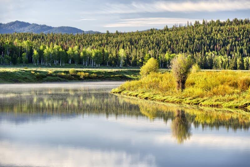 Curvatura di Oxbow, grande parco nazionale di Teton fotografie stock libere da diritti