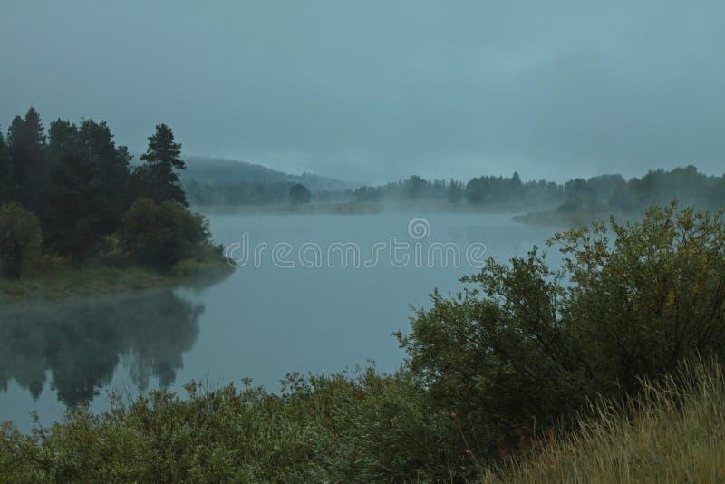 Curvatura di Oxbow nel grande parco nazionale di Tetons fotografie stock