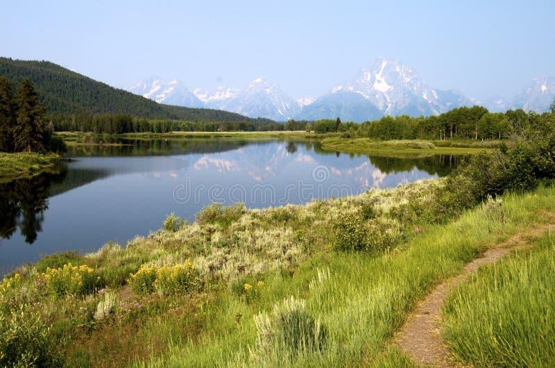 Curvatura di Oxbow, Wyoming fotografie stock