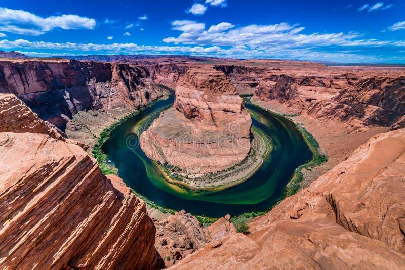 A curvatura em ferradura bonita no Arizona fotos de stock royalty free