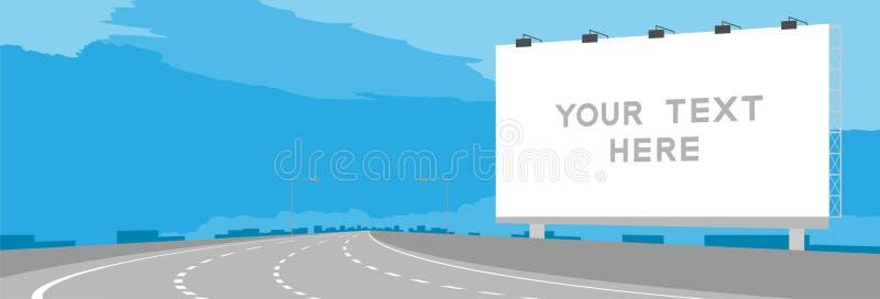 Curvatura grande da estrada ou da estrada do Signage do quadro de avisos da propaganda na ilustração do dia ilustração do vetor