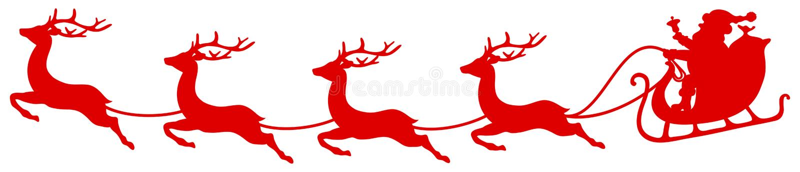 Curvatura vermelha de Santa And Four Flying Reindeers do trenó do Natal ilustração royalty free