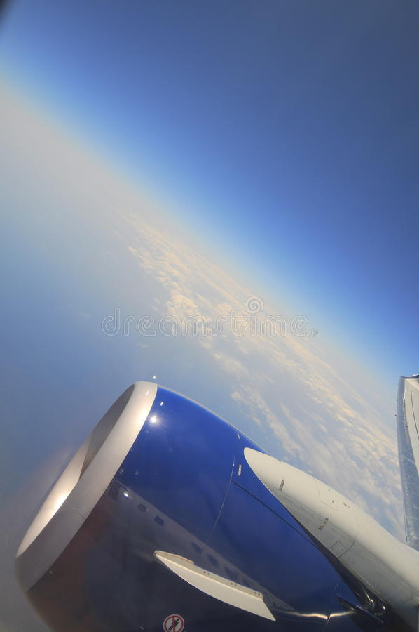 Curvature Of The Earth Airplane Window View Stock Photo