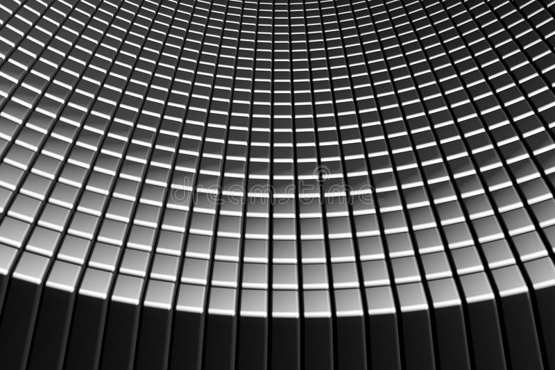 Curve abstract tiles aluminum background royalty free stock photo