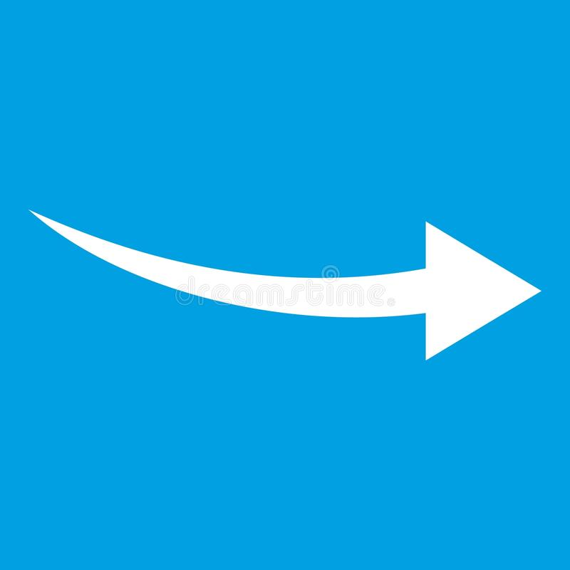 Curve arrow icon white. Isolated on blue background vector illustration vector illustration