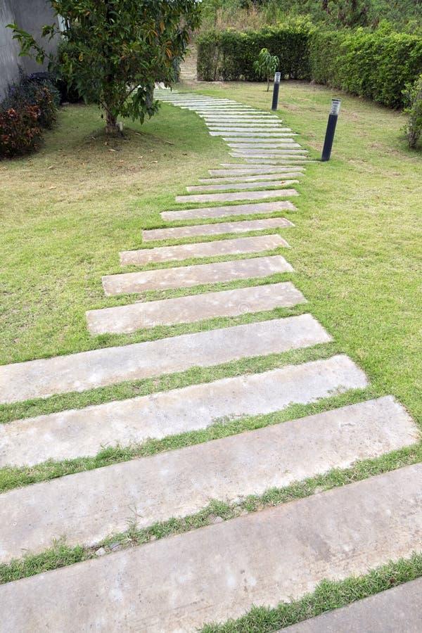 Fans Blocking Walkways : Curve cement block walkway in garden stock photo image